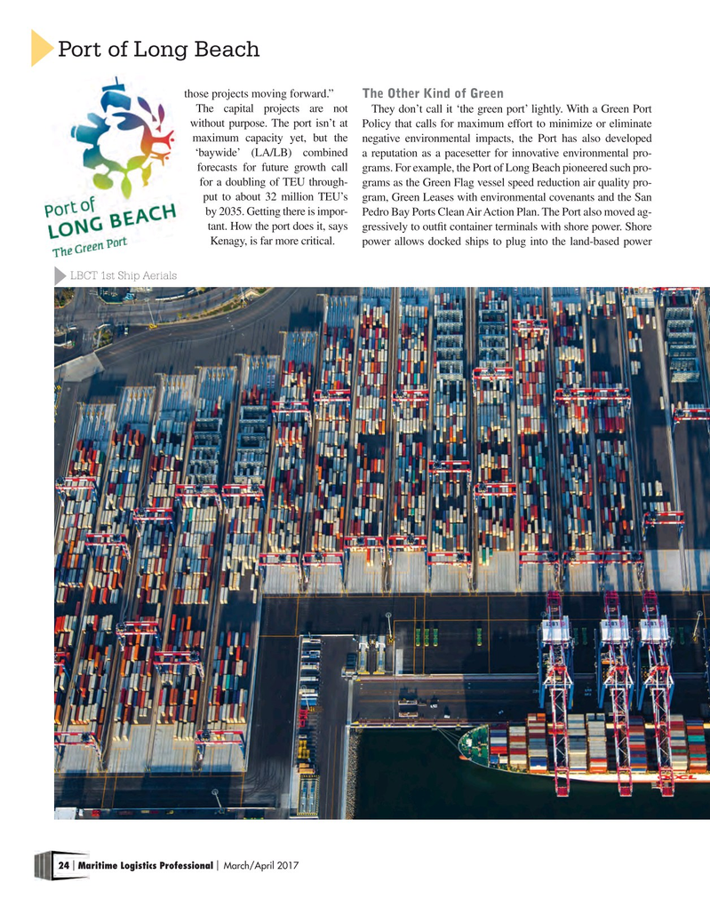 Maritime Logistics Professional Magazine, page 24,  Mar/Apr 2017