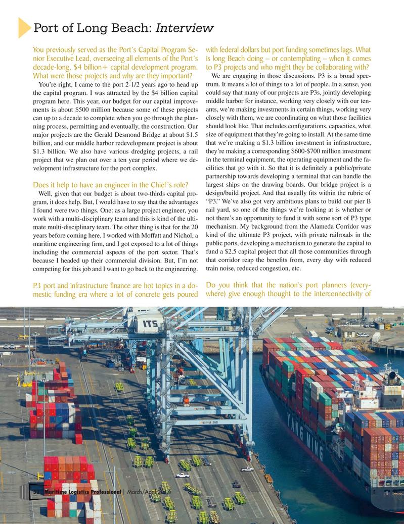 Maritime Logistics Professional Magazine, page 32,  Mar/Apr 2017