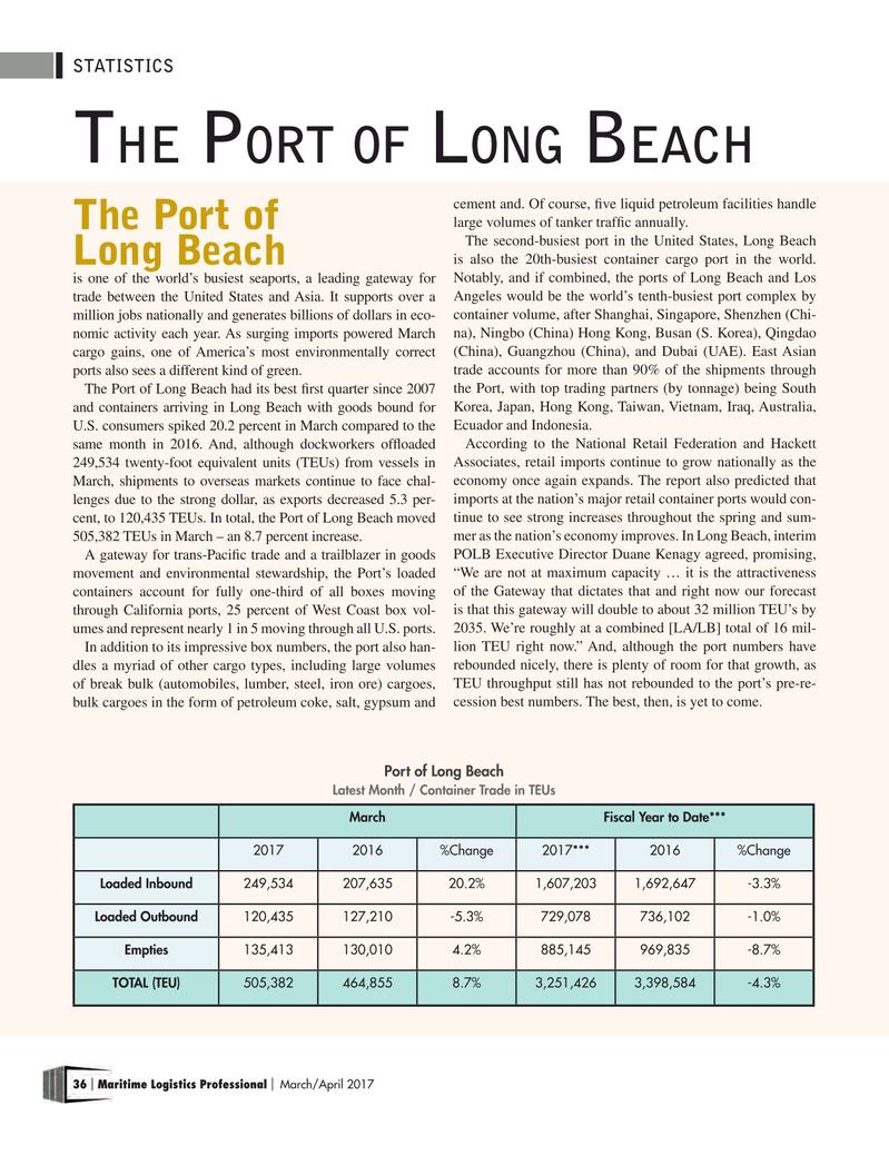 Maritime Logistics Professional Magazine, page 36,  Mar/Apr 2017