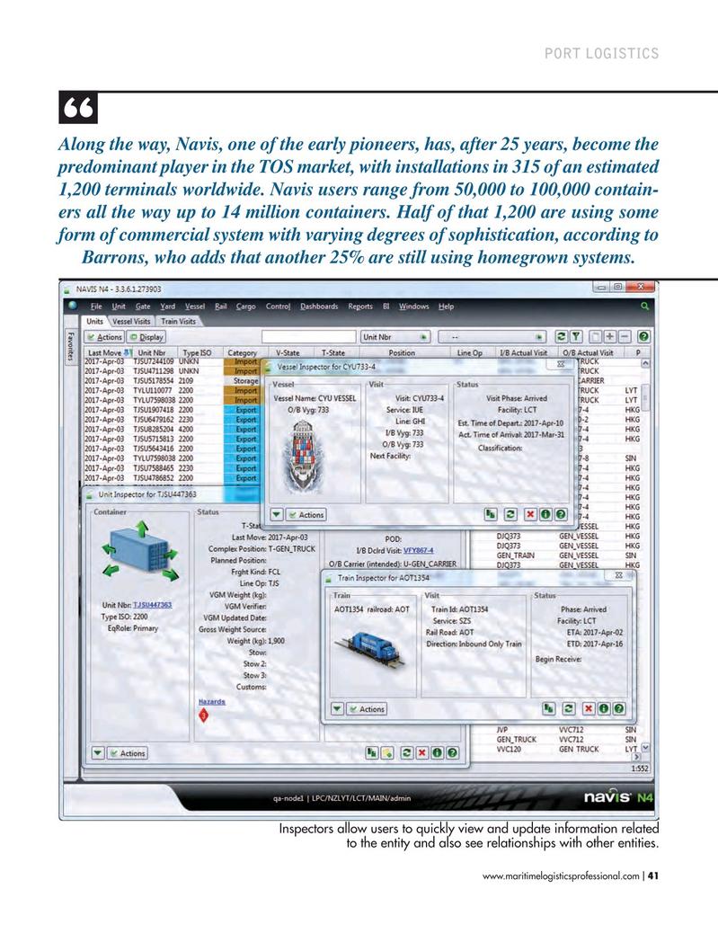 Maritime Logistics Professional Magazine, page 41,  Mar/Apr 2017