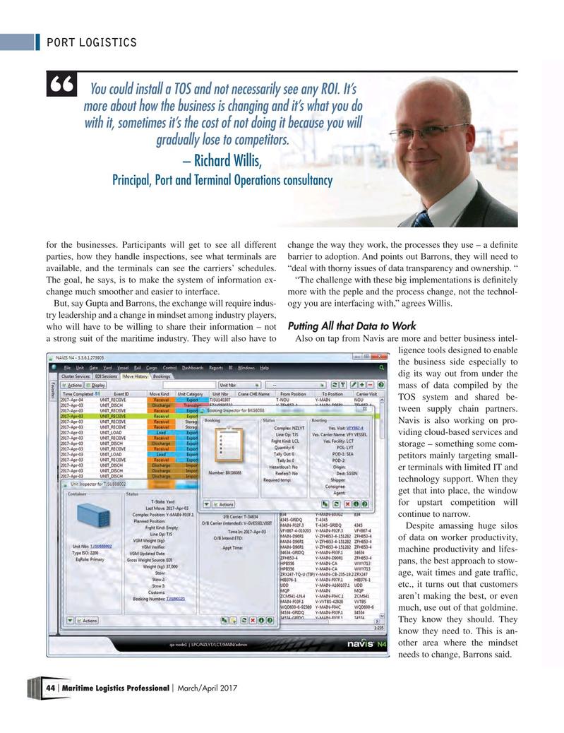 Maritime Logistics Professional Magazine, page 44,  Mar/Apr 2017
