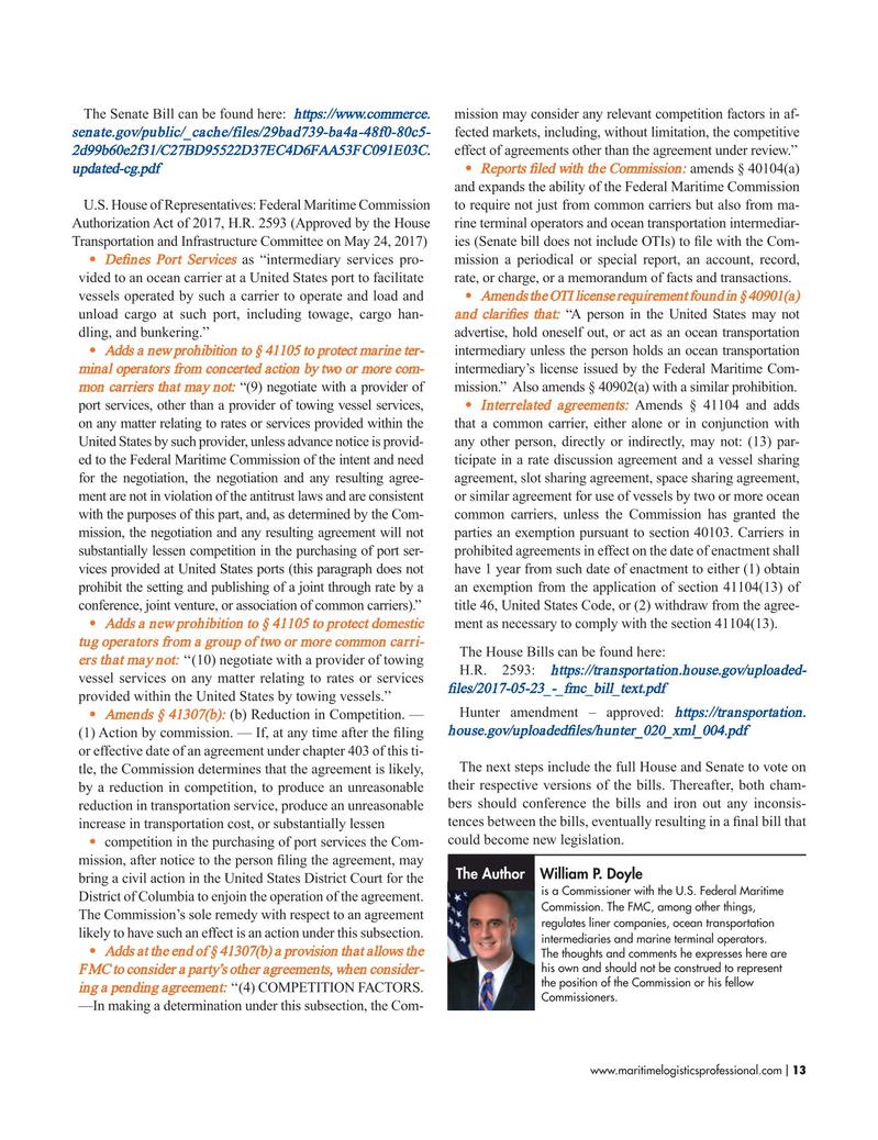 Maritime Logistics Professional Magazine, page 13,  May/Jun 2017