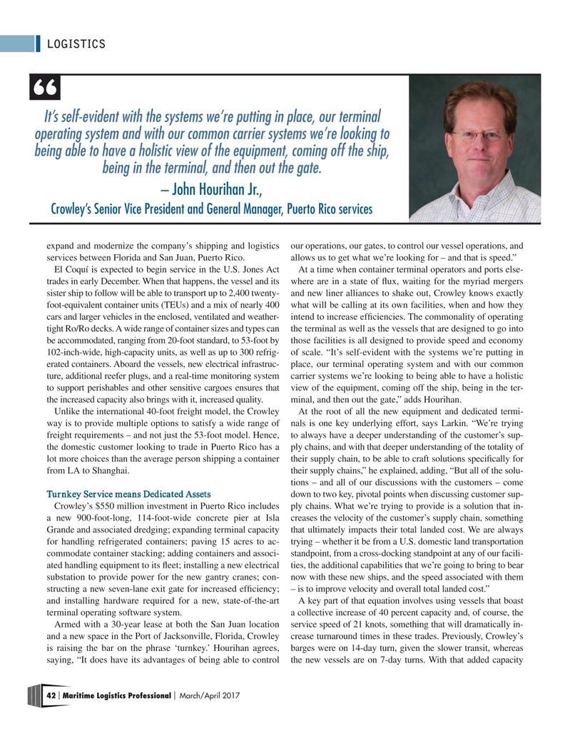 Maritime Logistics Professional Magazine, page 42,  May/Jun 2017