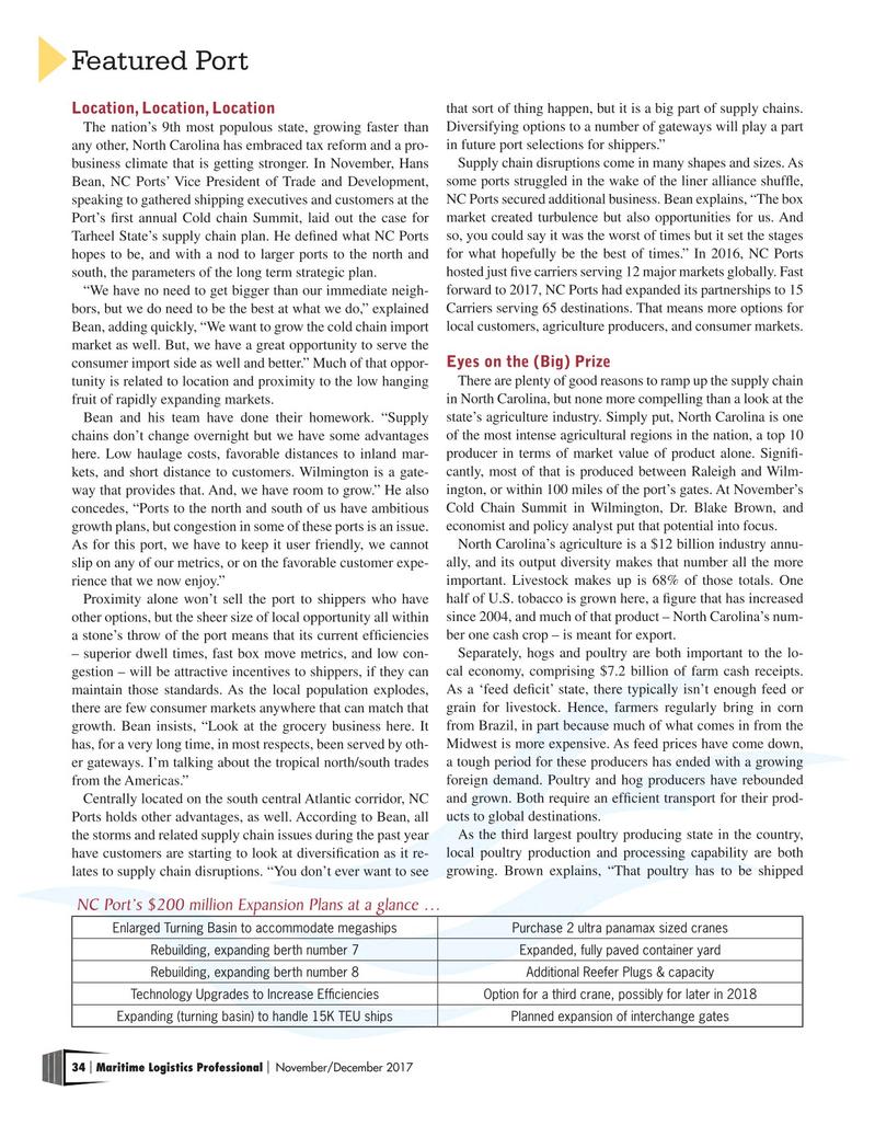 Maritime Logistics Professional Magazine, page 34,  Nov/Dec 2017