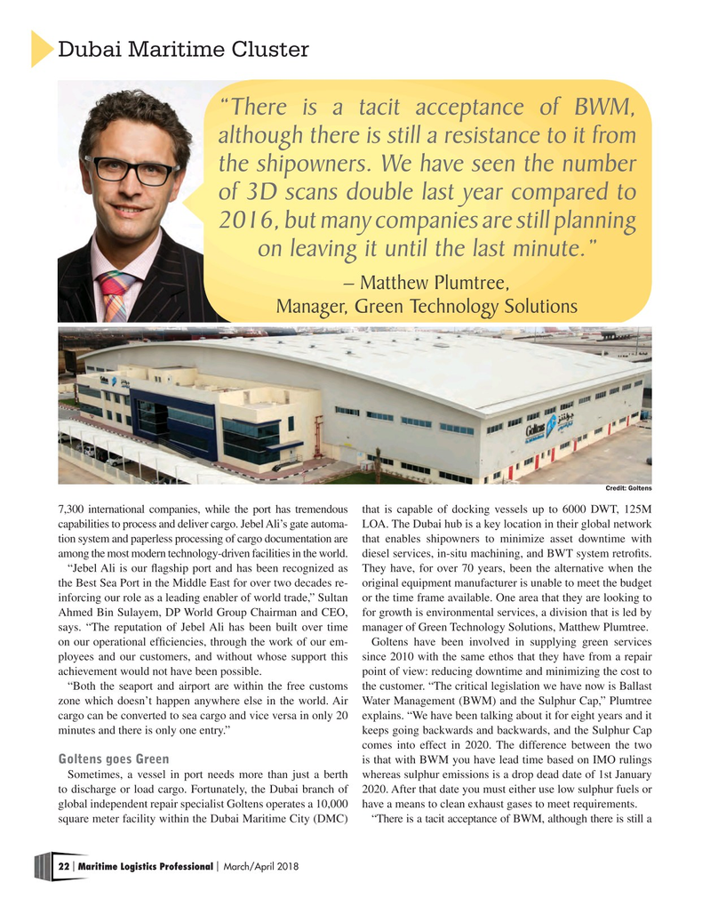 Maritime Logistics Professional Magazine, page 22,  Mar/Apr 2018