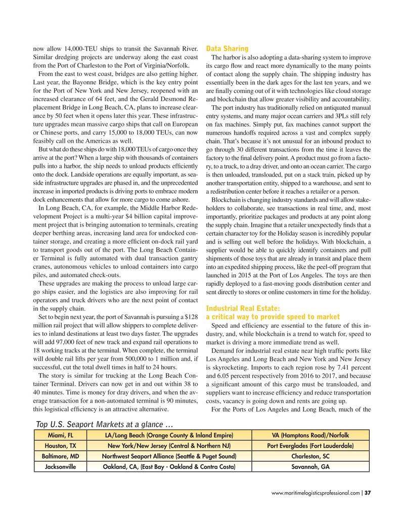 Maritime Logistics Professional Magazine, page 37,  Mar/Apr 2018