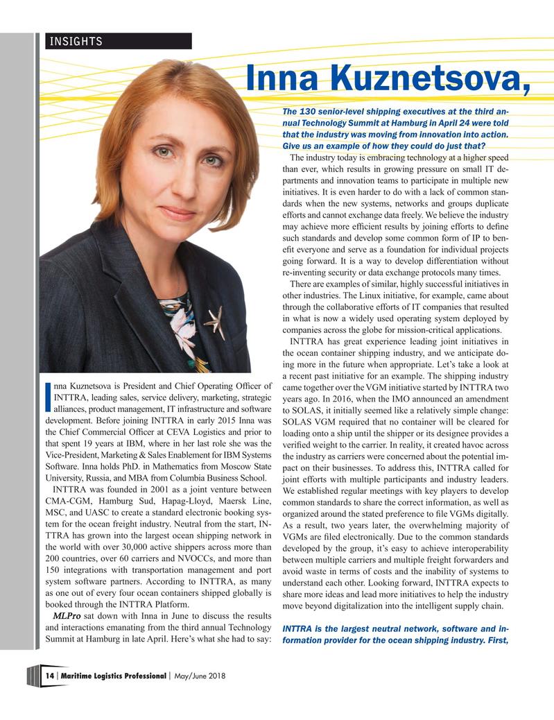 Maritime Logistics Professional Magazine, page 14,  May/Jun 2018