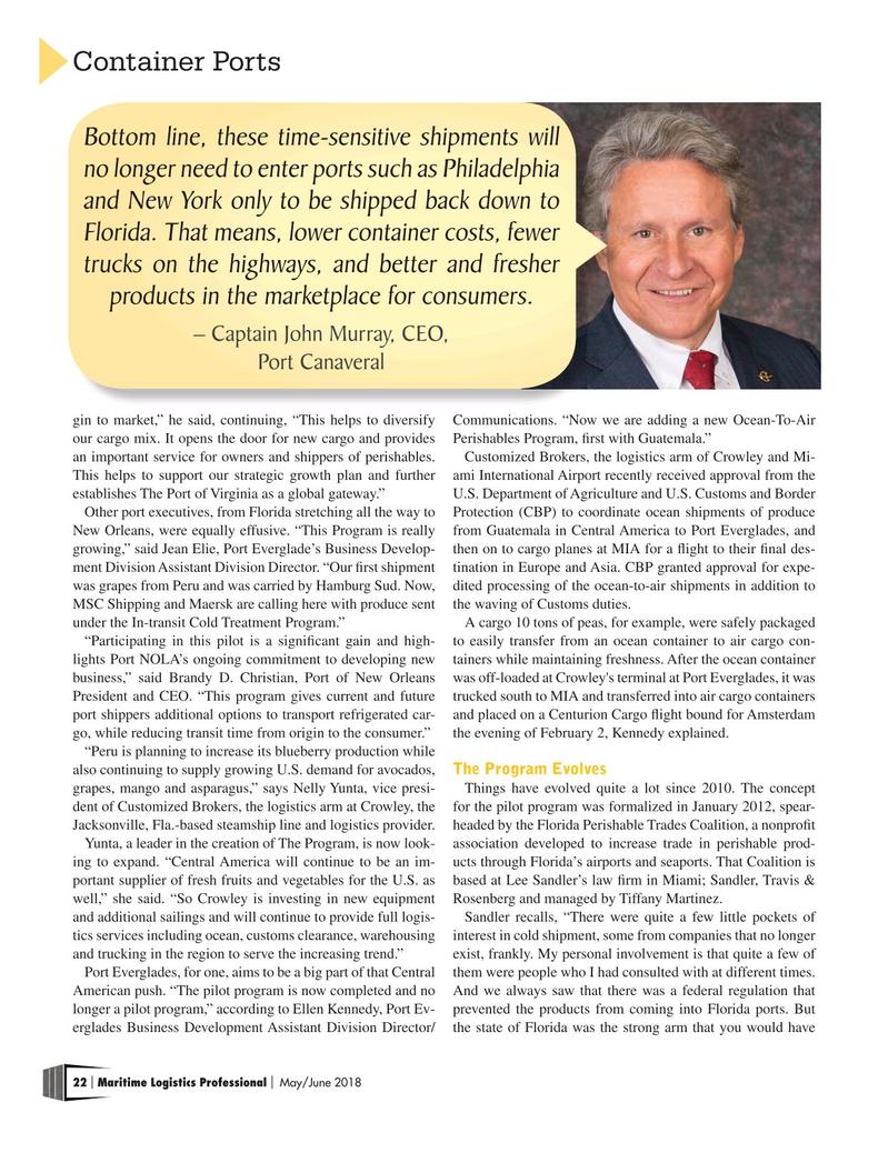 Maritime Logistics Professional Magazine, page 22,  May/Jun 2018