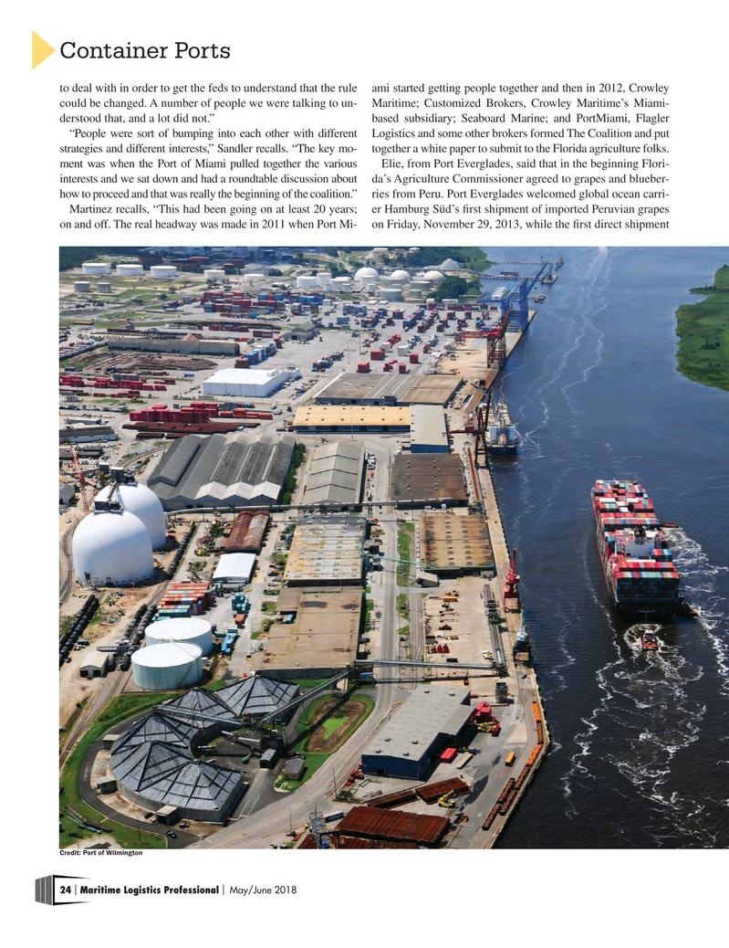 Maritime Logistics Professional Magazine, page 24,  May/Jun 2018
