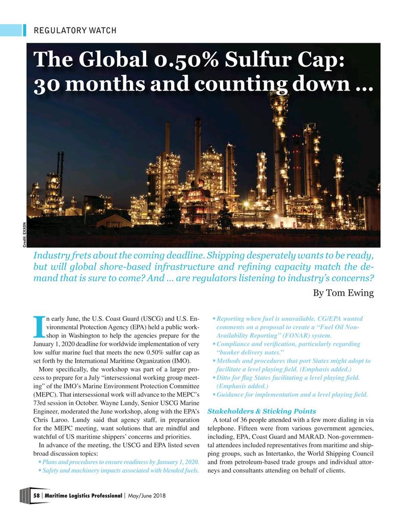 Maritime Logistics Professional Magazine, page 58,  May/Jun 2018