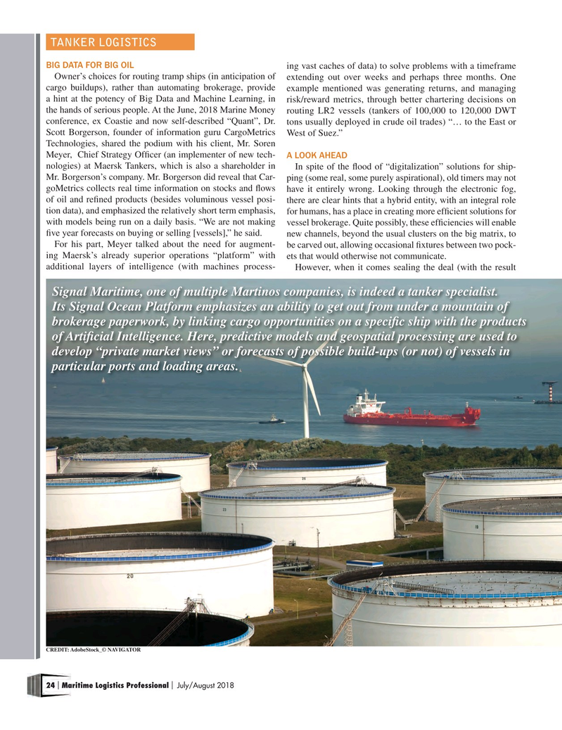 Maritime Logistics Professional Magazine, page 24,  Jul/Aug 2018