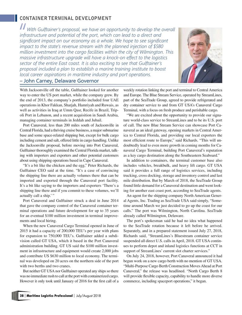 Maritime Logistics Professional Magazine, page 28,  Jul/Aug 2018