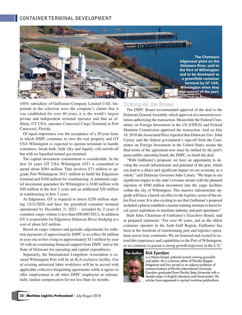 Maritime Logistics Professional Magazine, page 32,  Jul/Aug 2018