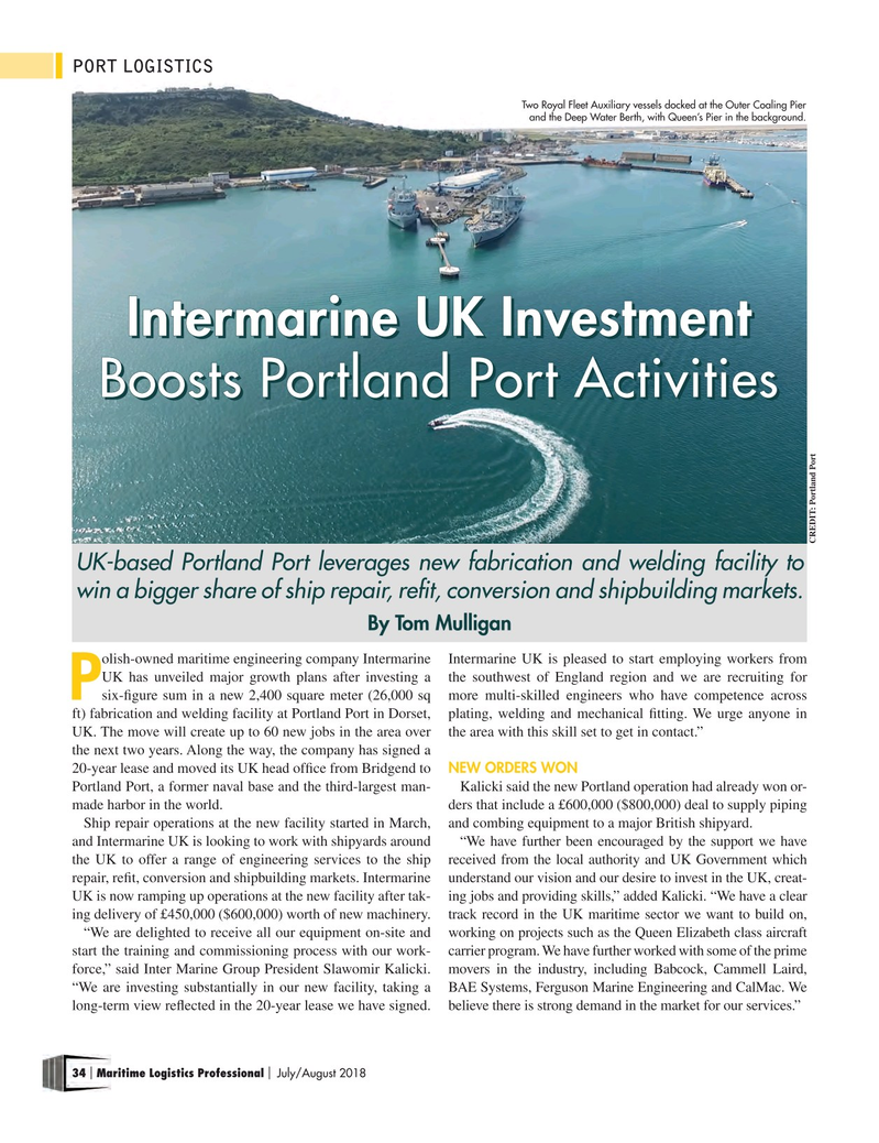 Maritime Logistics Professional Magazine, page 34,  Jul/Aug 2018