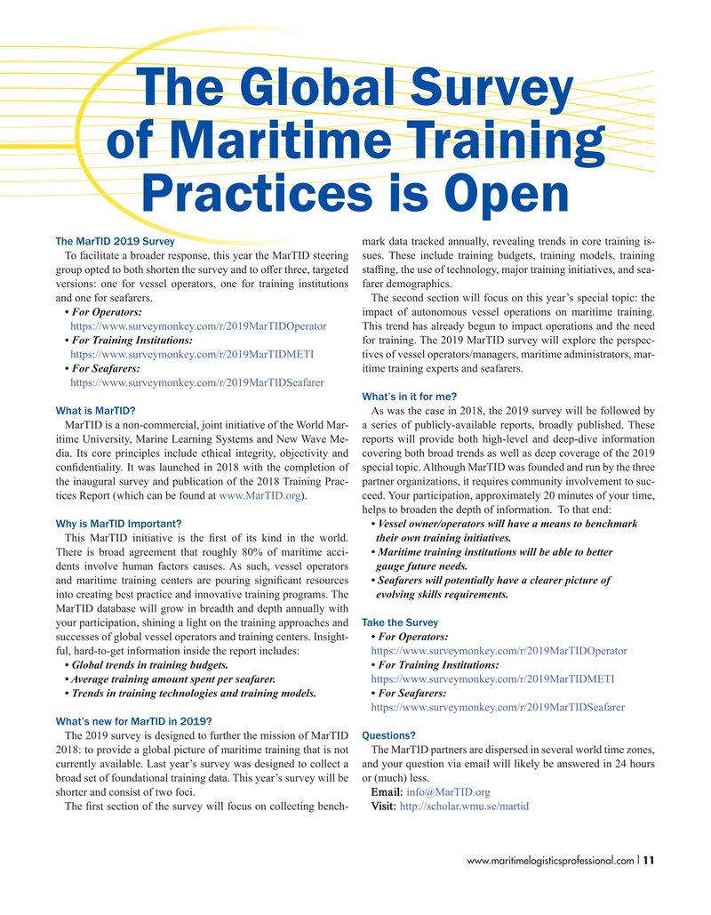 Maritime Logistics Professional Magazine, page 11,  Nov/Dec 2018