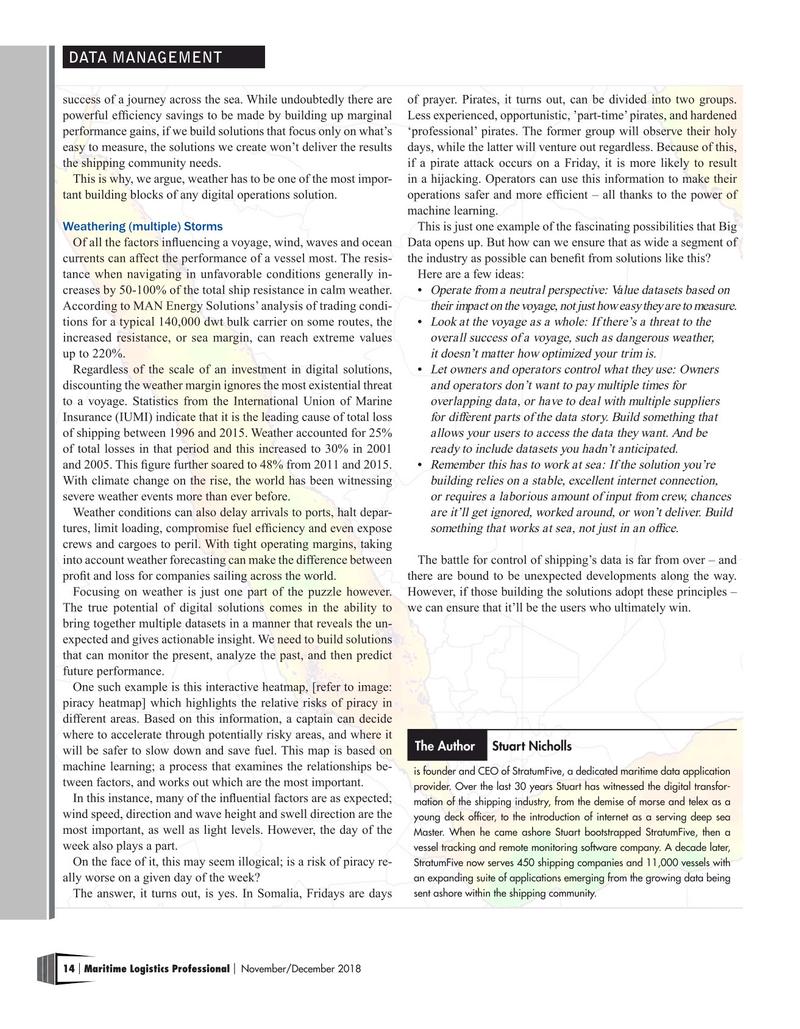 Maritime Logistics Professional Magazine, page 14,  Nov/Dec 2018