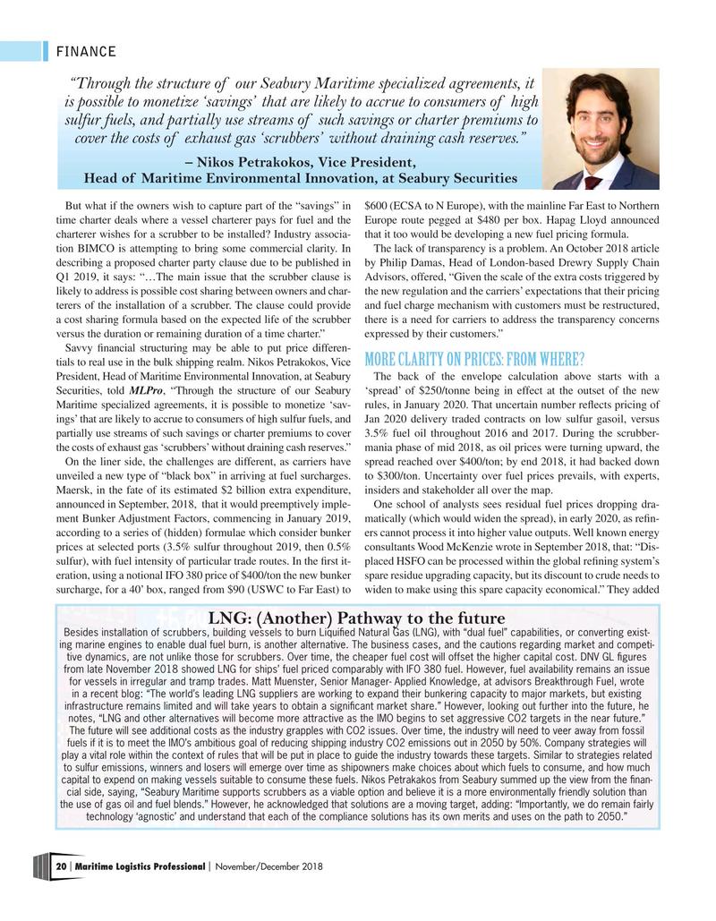 Maritime Logistics Professional Magazine, page 20,  Nov/Dec 2018