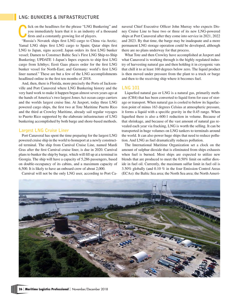 Maritime Logistics Professional Magazine, page 26,  Nov/Dec 2018