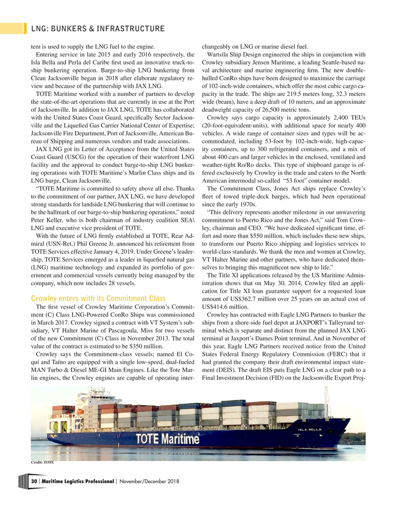 Maritime Logistics Professional Magazine, page 30,  Nov/Dec 2018