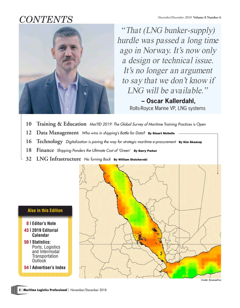 Maritime Logistics Professional Magazine, page 2,  Nov/Dec 2018