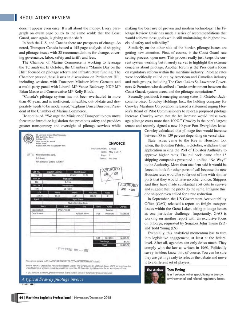 Maritime Logistics Professional Magazine, page 44,  Nov/Dec 2018