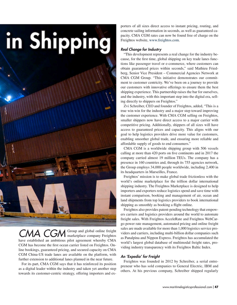 Maritime Logistics Professional Magazine, page 47,  Nov/Dec 2018