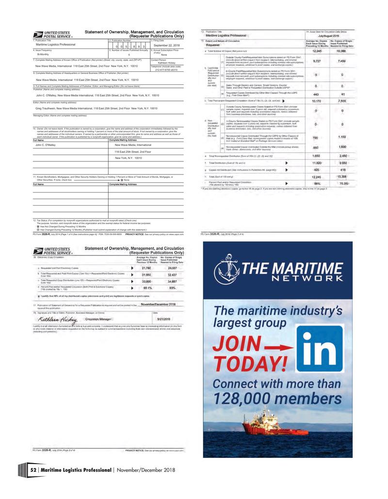 Maritime Logistics Professional Magazine, page 52,  Nov/Dec 2018