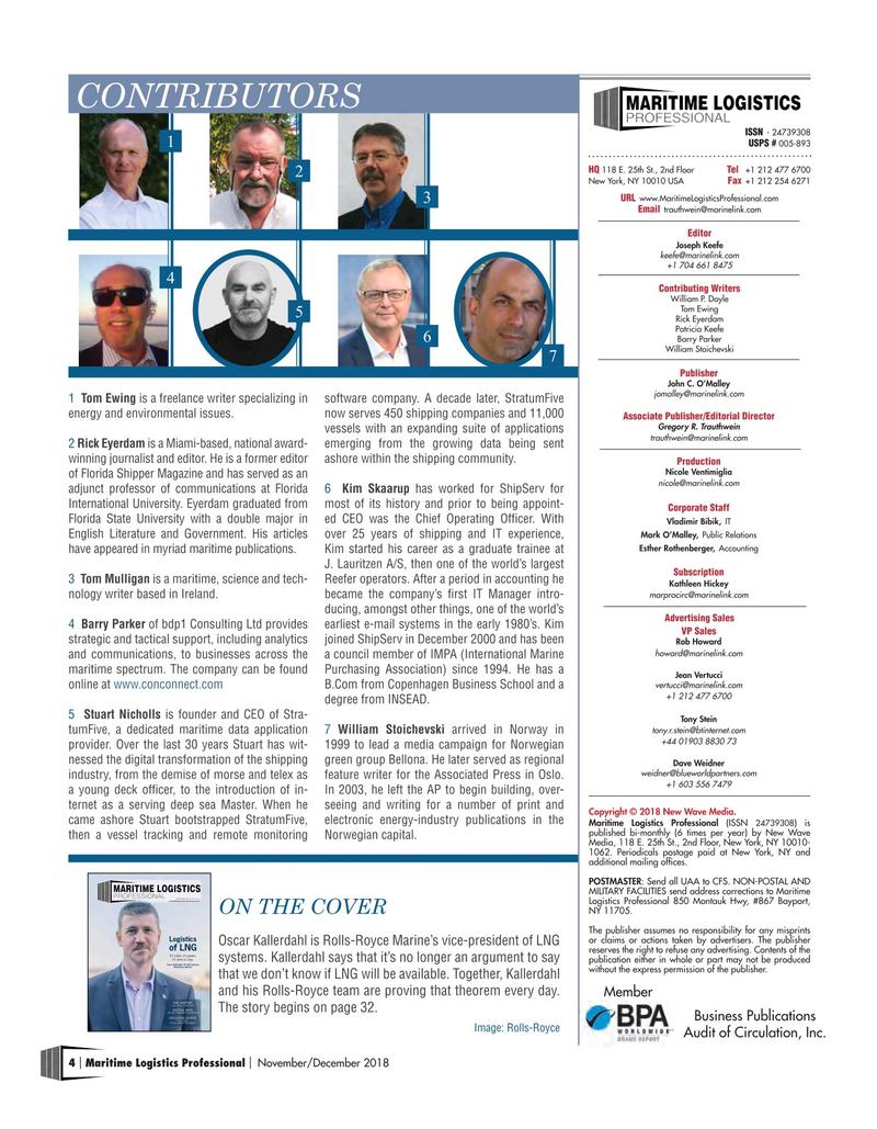 Maritime Logistics Professional Magazine, page 4,  Nov/Dec 2018