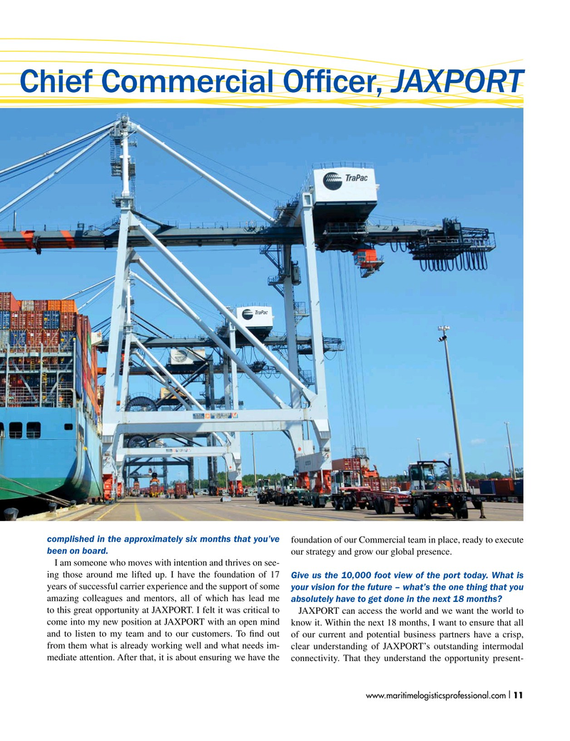 Maritime Logistics Professional Magazine, page 11,  Jan/Feb 2019