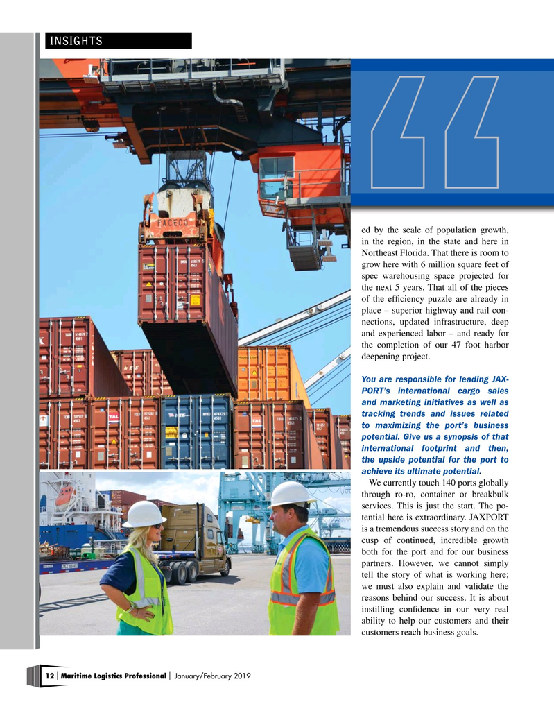 Maritime Logistics Professional Magazine, page 12,  Jan/Feb 2019