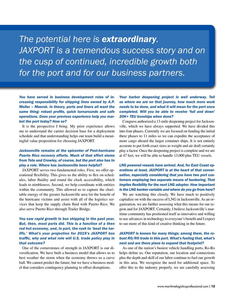Maritime Logistics Professional Magazine, page 13,  Jan/Feb 2019