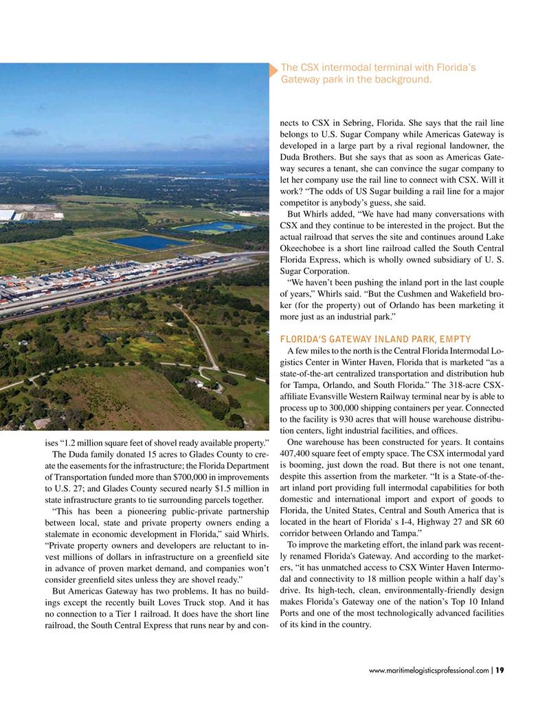 Maritime Logistics Professional Magazine, page 19,  Jan/Feb 2019