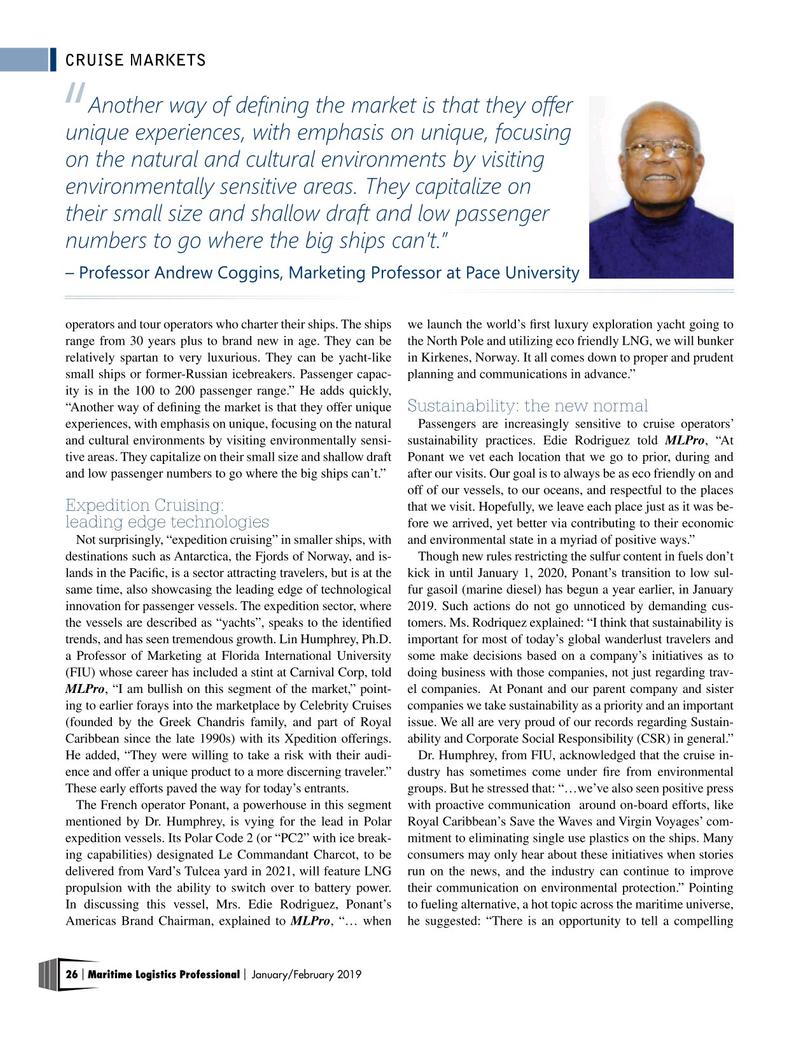 Maritime Logistics Professional Magazine, page 26,  Jan/Feb 2019