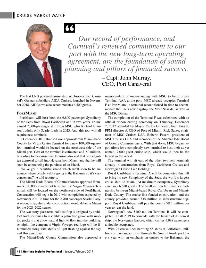 Maritime Logistics Professional Magazine, page 42,  Jan/Feb 2019