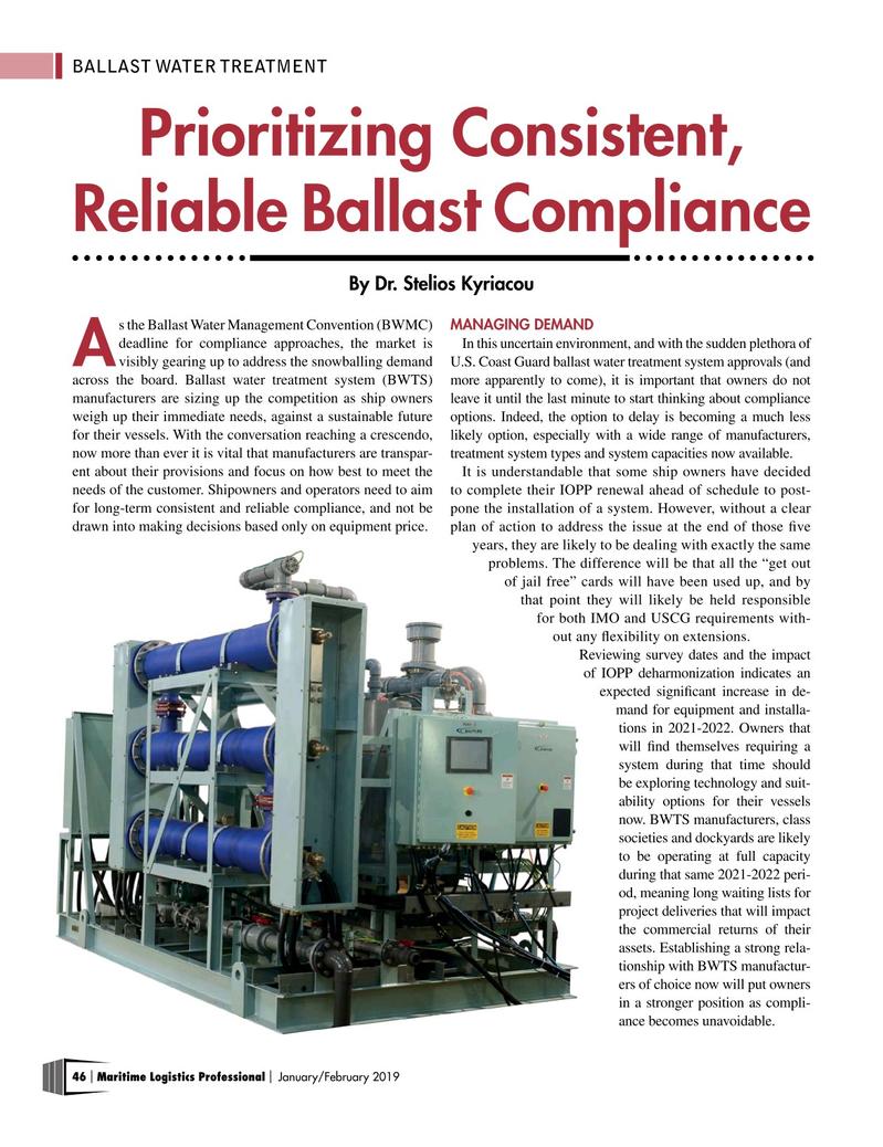 Maritime Logistics Professional Magazine, page 46,  Jan/Feb 2019