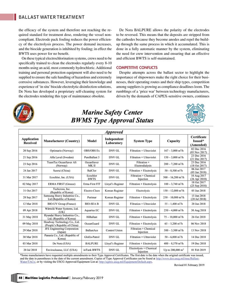 Maritime Logistics Professional Magazine, page 48,  Jan/Feb 2019