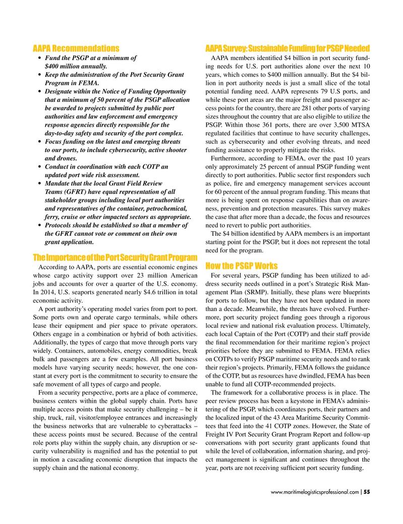 Maritime Logistics Professional Magazine, page 55,  Jan/Feb 2019