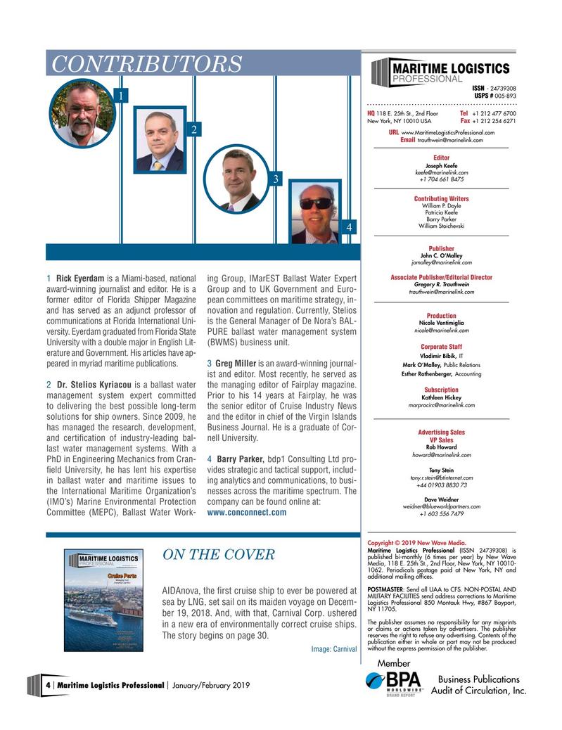 Maritime Logistics Professional Magazine, page 4,  Jan/Feb 2019