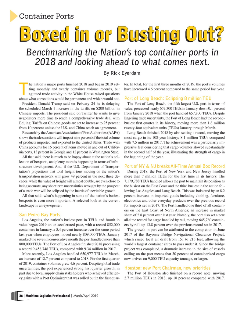 Maritime Logistics Professional Magazine, page 26,  Mar/Apr 2019