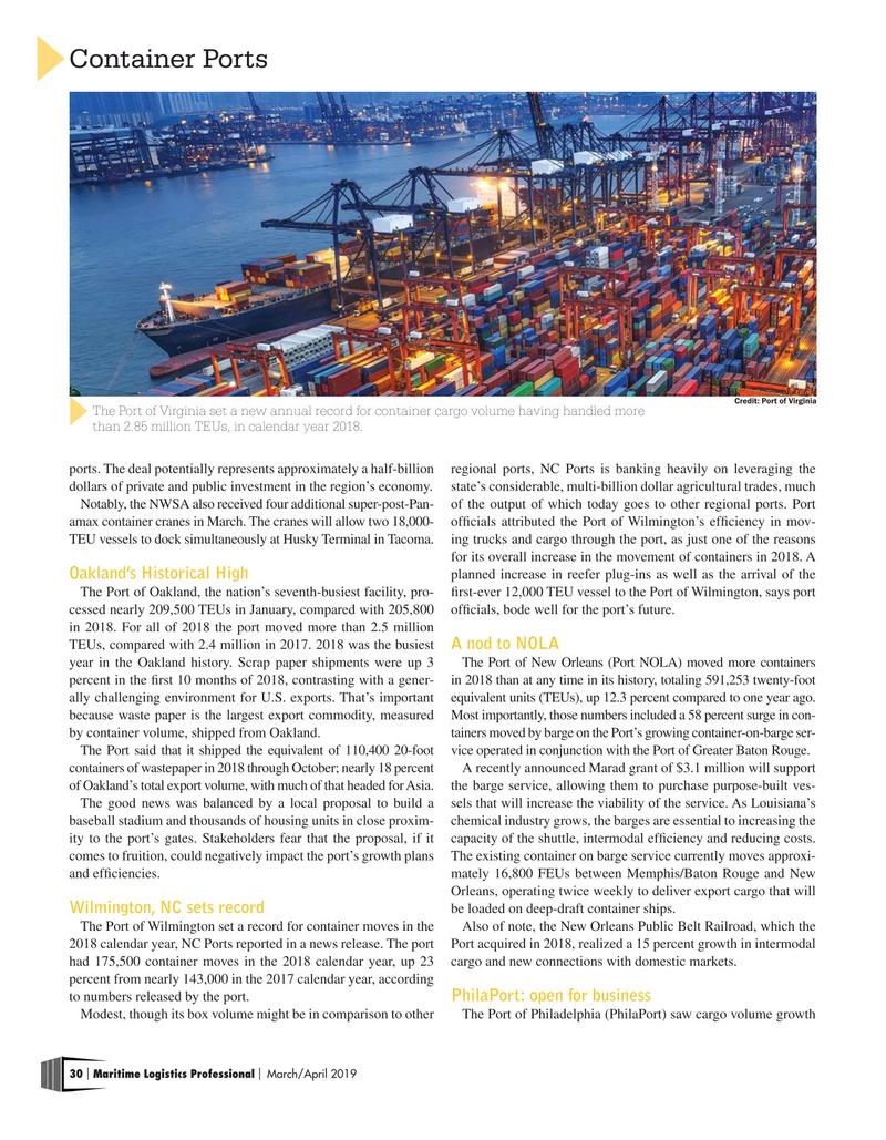 Maritime Logistics Professional Magazine, page 30,  Mar/Apr 2019