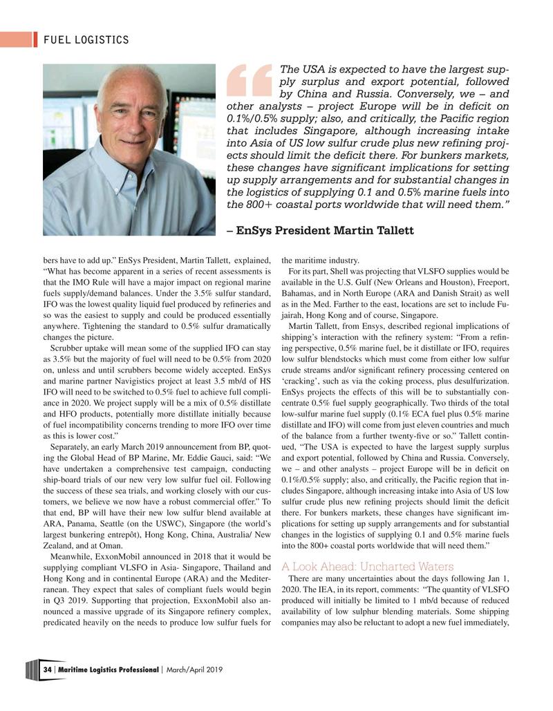 Maritime Logistics Professional Magazine, page 34,  Mar/Apr 2019