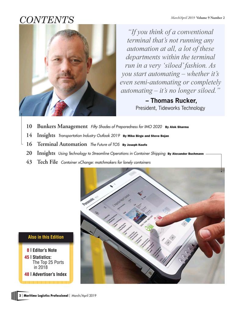 Maritime Logistics Professional Magazine, page 2,  Mar/Apr 2019