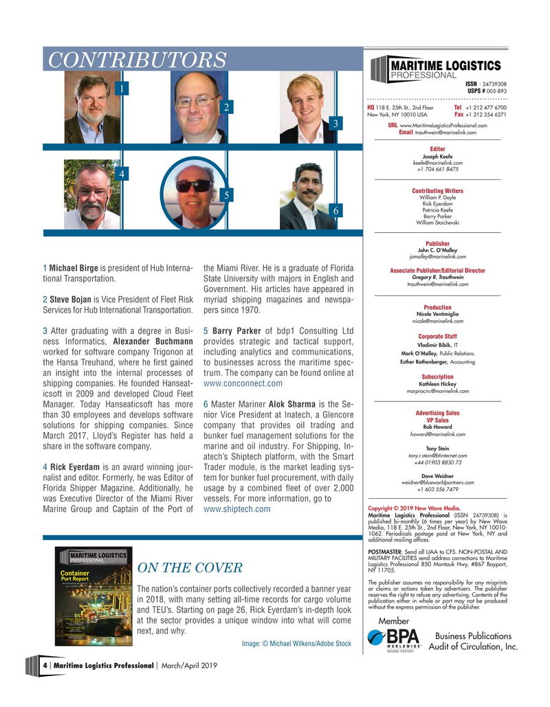 Maritime Logistics Professional Magazine, page 4,  Mar/Apr 2019