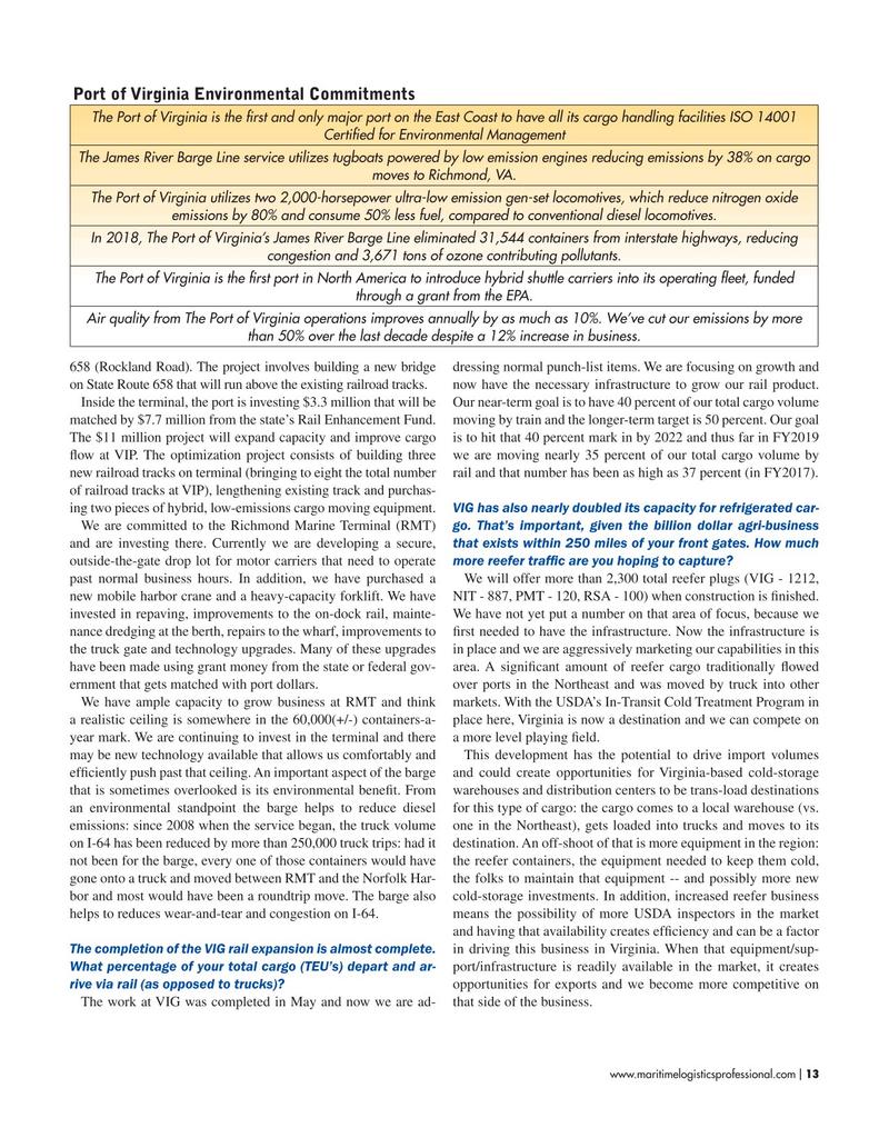 Maritime Logistics Professional Magazine, page 13,  May/Jun 2019