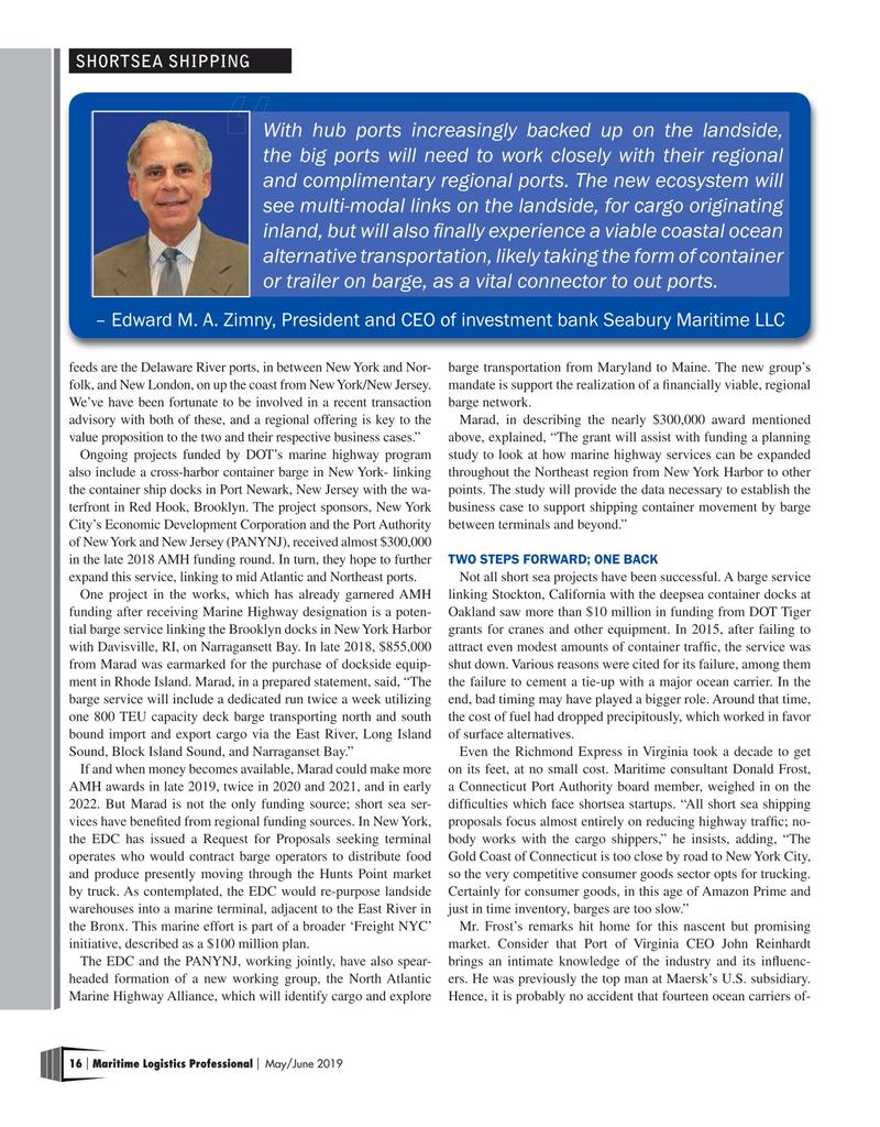 Maritime Logistics Professional Magazine, page 16,  May/Jun 2019