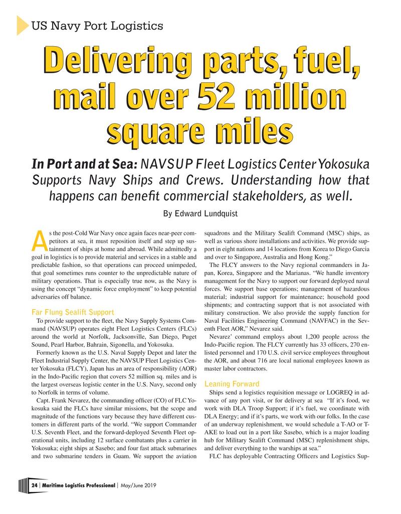 Maritime Logistics Professional Magazine, page 24,  May/Jun 2019