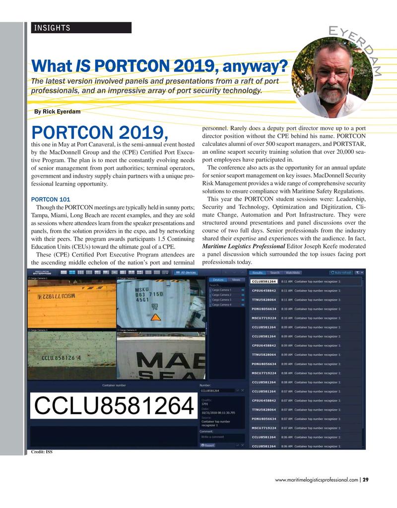 Maritime Logistics Professional Magazine, page 29,  May/Jun 2019