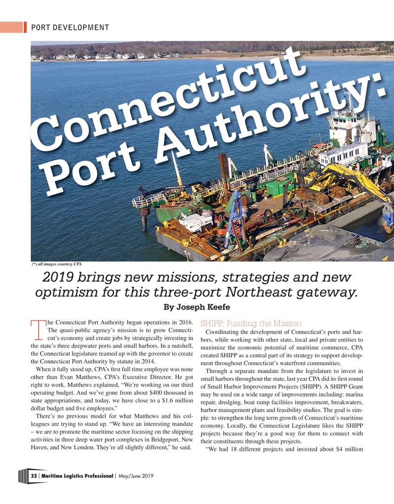Maritime Logistics Professional Magazine, page 32,  May/Jun 2019