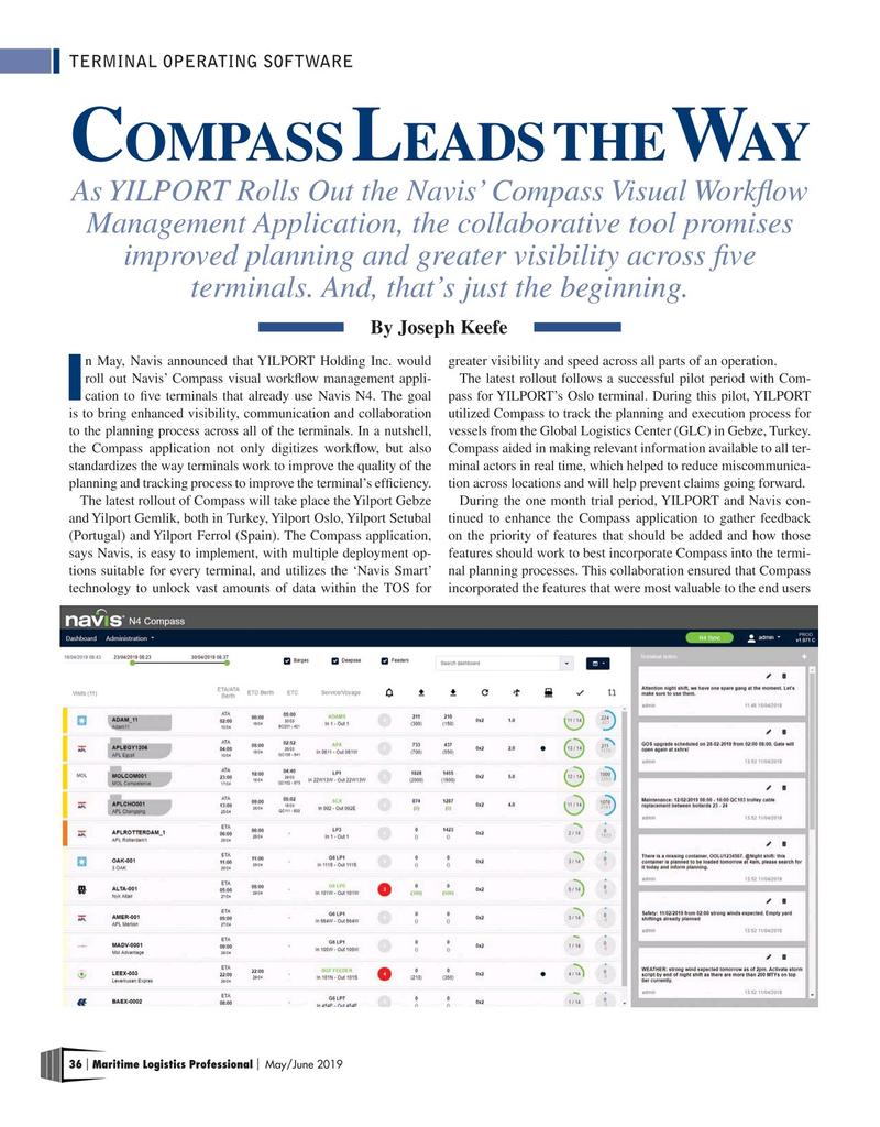 Maritime Logistics Professional Magazine, page 36,  May/Jun 2019