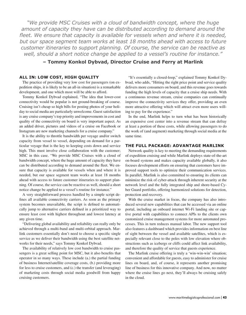 Maritime Logistics Professional Magazine, page 43,  May/Jun 2019